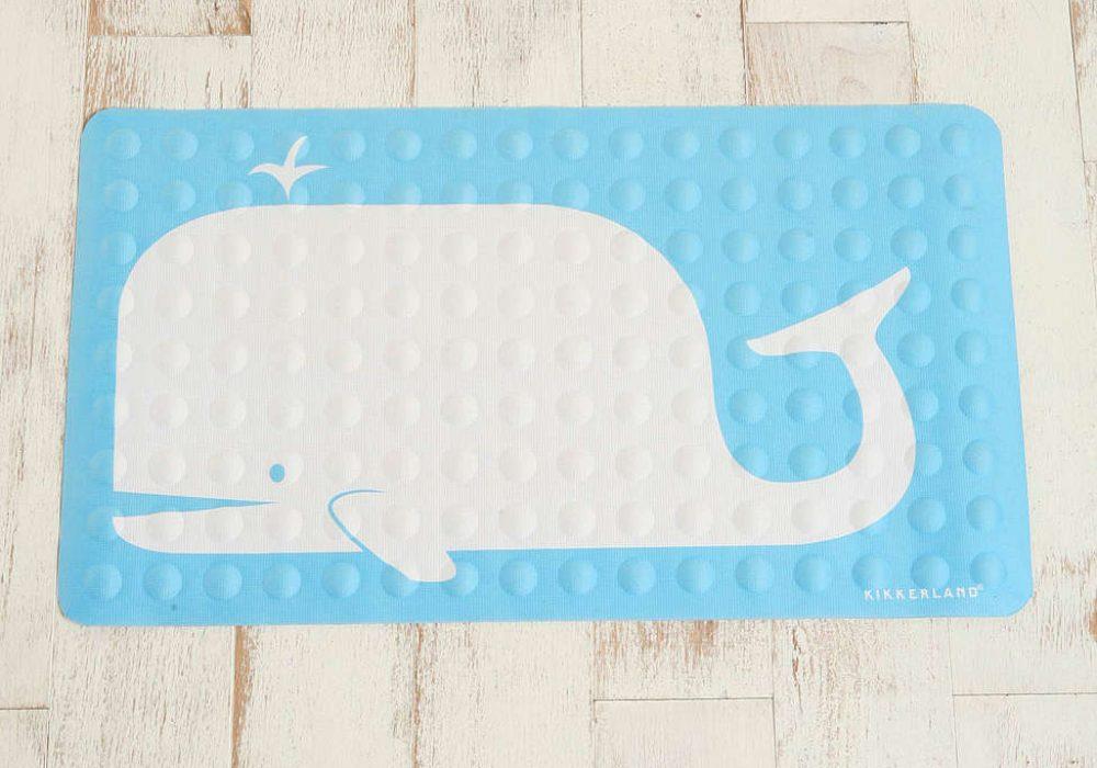 Kikkerland Whale Rubber Bath Mat Cute Baby Blue Bathroom Design