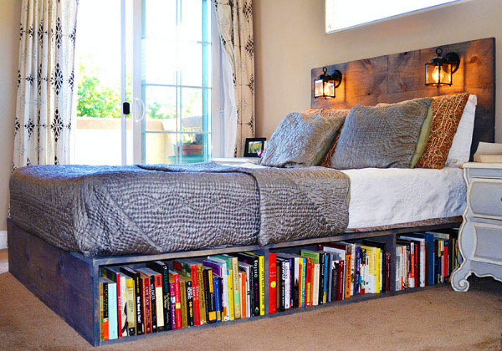 Knots and Biscuits Olivos Platform Bed with Headboard and Bookshelf Bedroom Idea