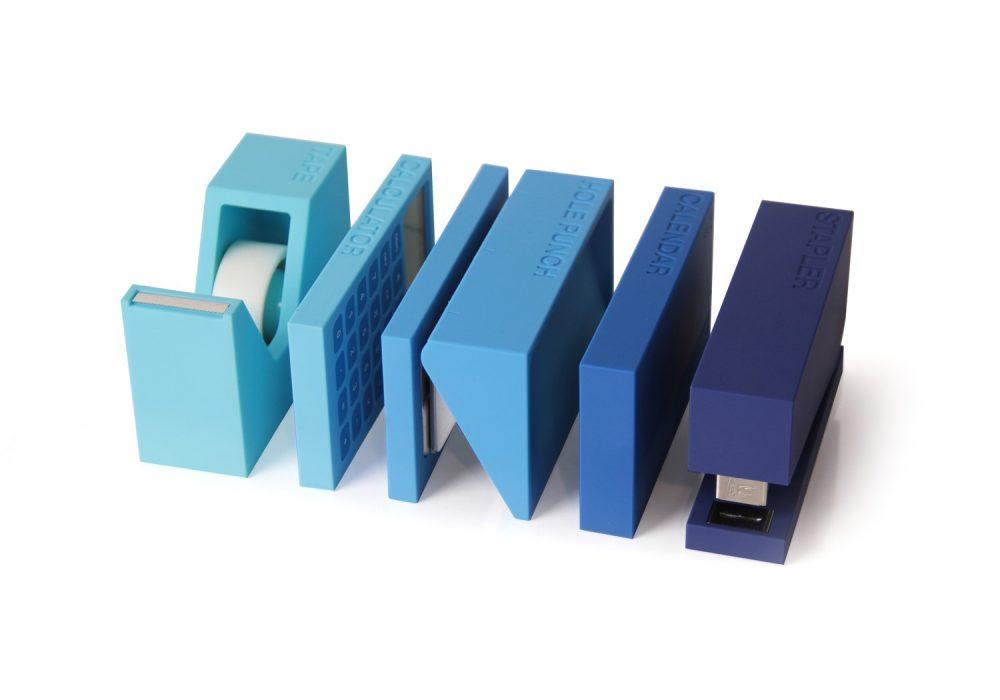 Lexon Buro Desk Accessories Set Cool Blue Office Stuff