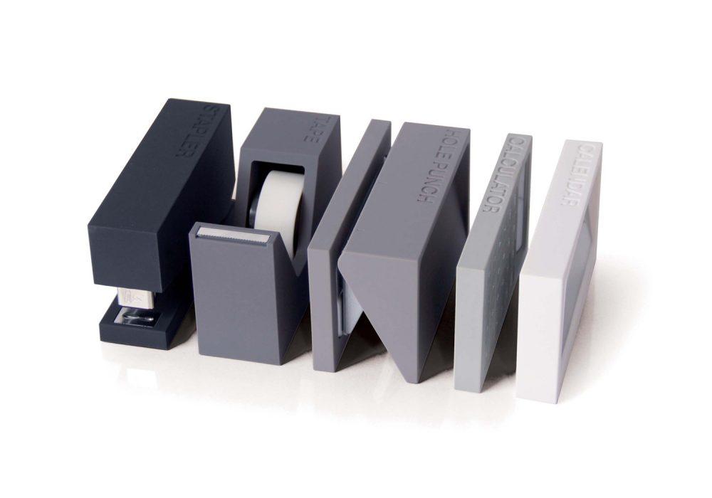 Lexon Buro Desk Accessories Set Gray Organized Office Materials