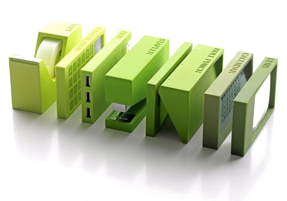 Lexon Buro Desk Accessories Set Green Inspiration for Minimalist Office