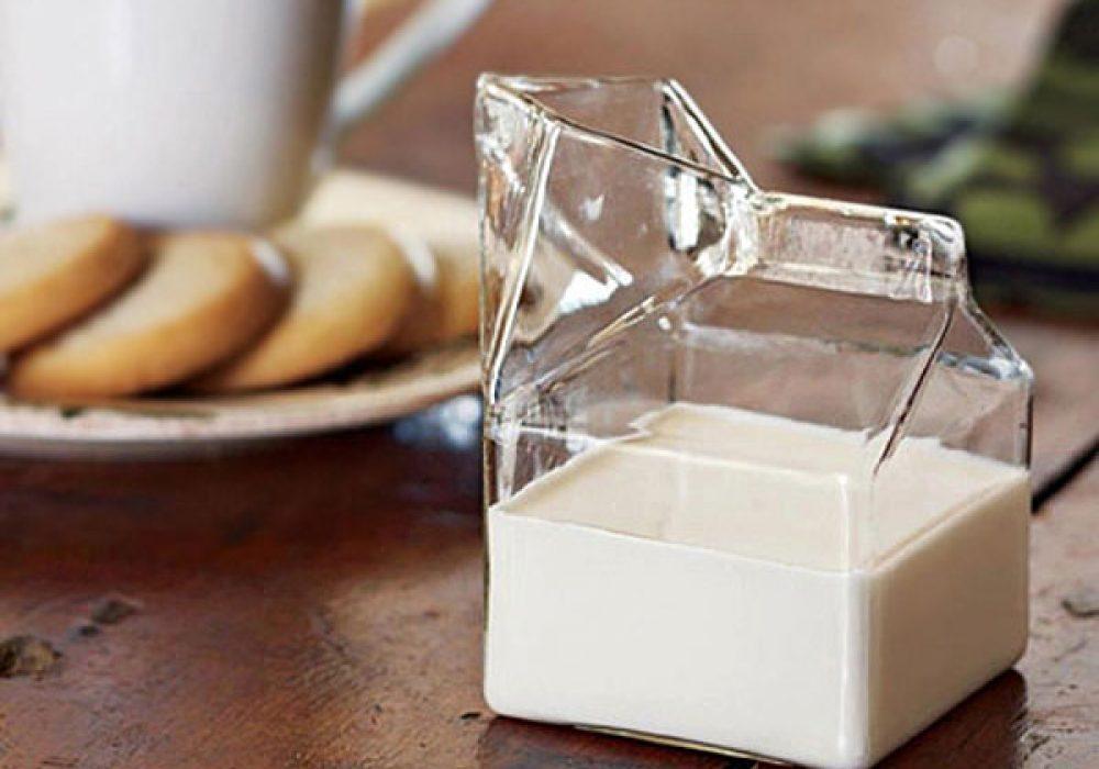 Locomo Life Half Pint Glass Milk Carton Cute Container