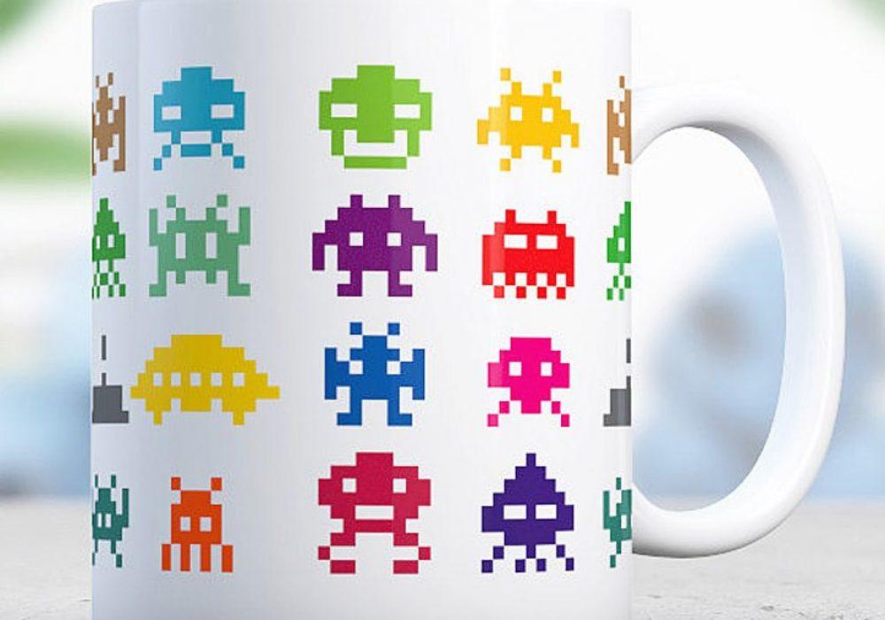Love Alice Mugs Space Invader Mug Great Pixel Designed Coffee Cup