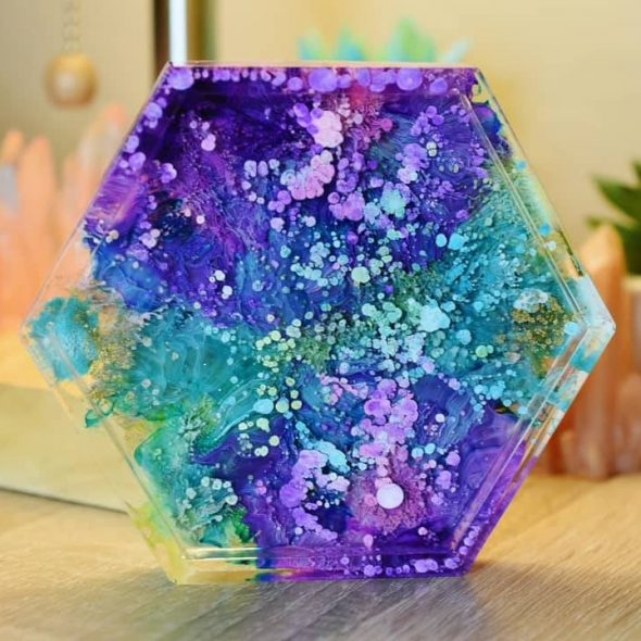 LunasArtBox Hexagonal Alcohol Ink Coasters