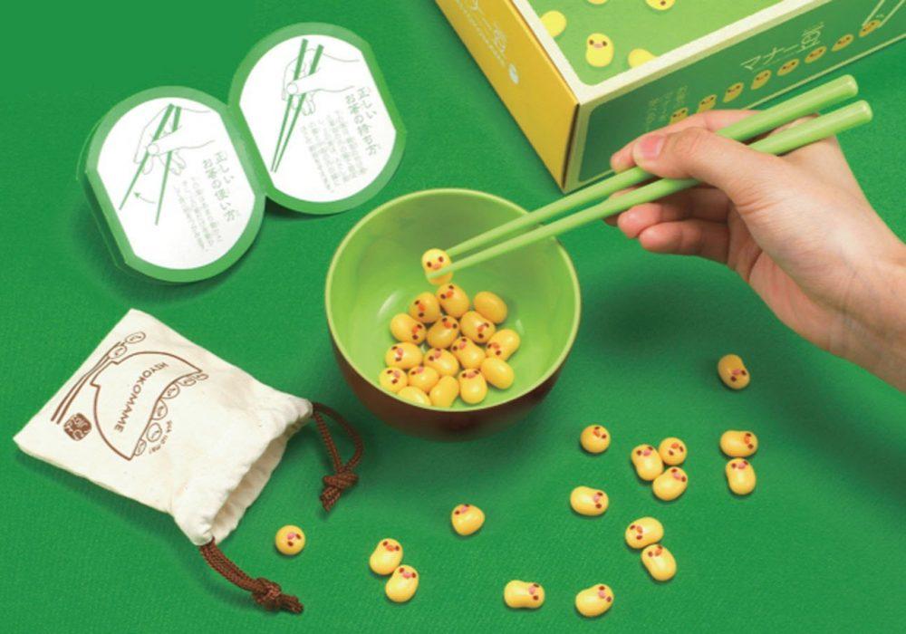 Manner Beans Chopstick Game Green Chopsticks and Yellow Chick Beans
