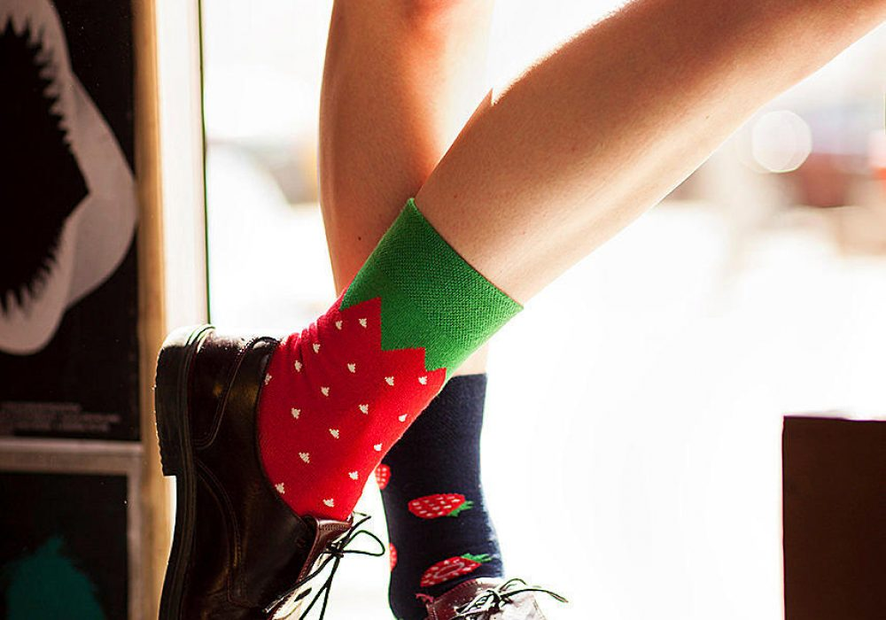 Many Mornings Mismatched Strawberry Socks Cute