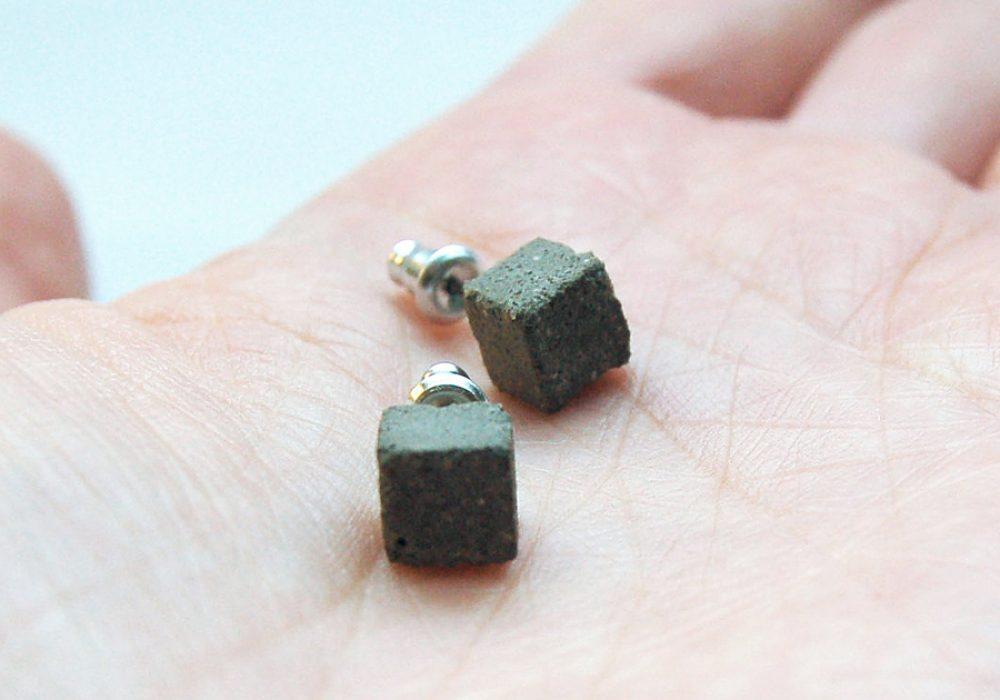 Maple & Mauve Square Concrete Earring Studs Cool Accessory