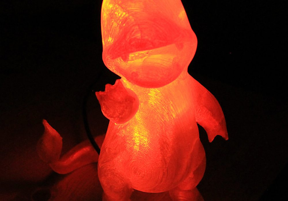 Marbled Works 3D Printed Charmander Lamp Give Away Idea