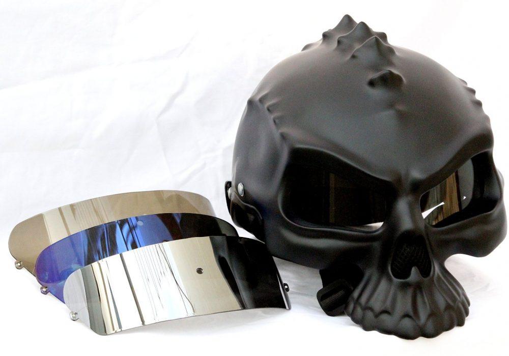 Masei Matt Black 3D Skull Helmet Changeable Visors