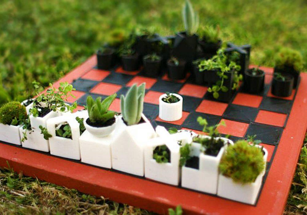 Micro Planter Chess Set Unique