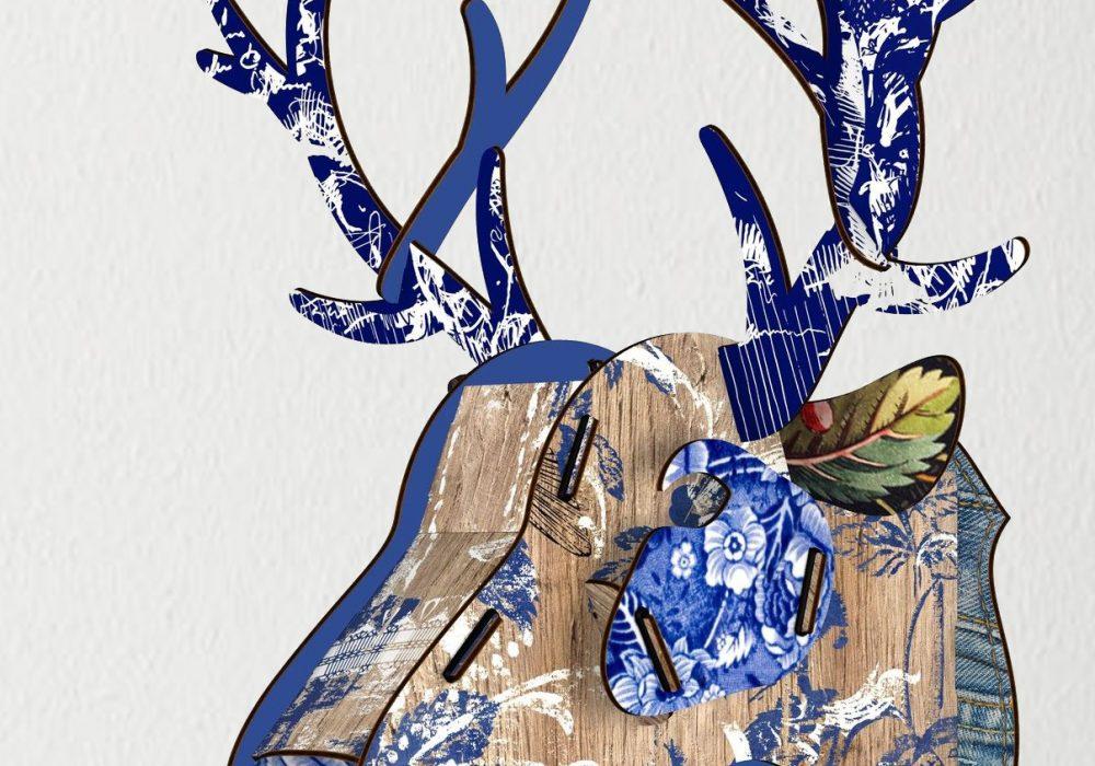 Miho Deer Head Trophy Blue Abstract Art