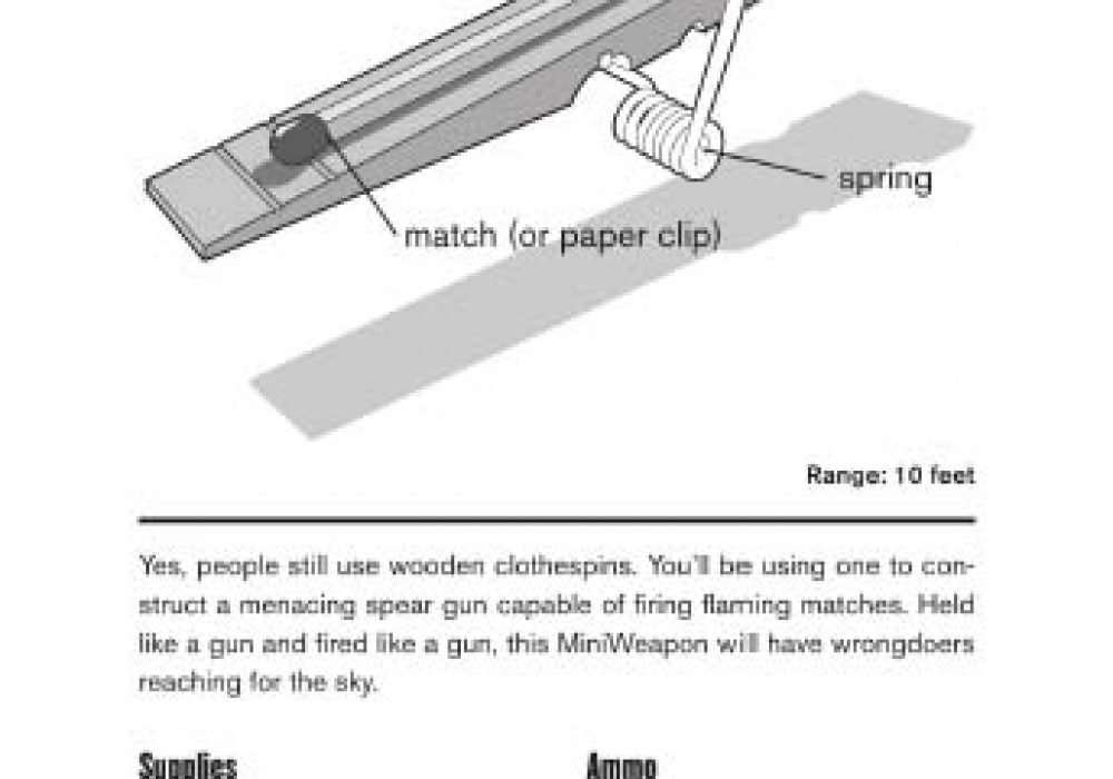 Mini Weapons of Mass Destruction Build Implements of Spitball Warfare Page Clothespin Shooter