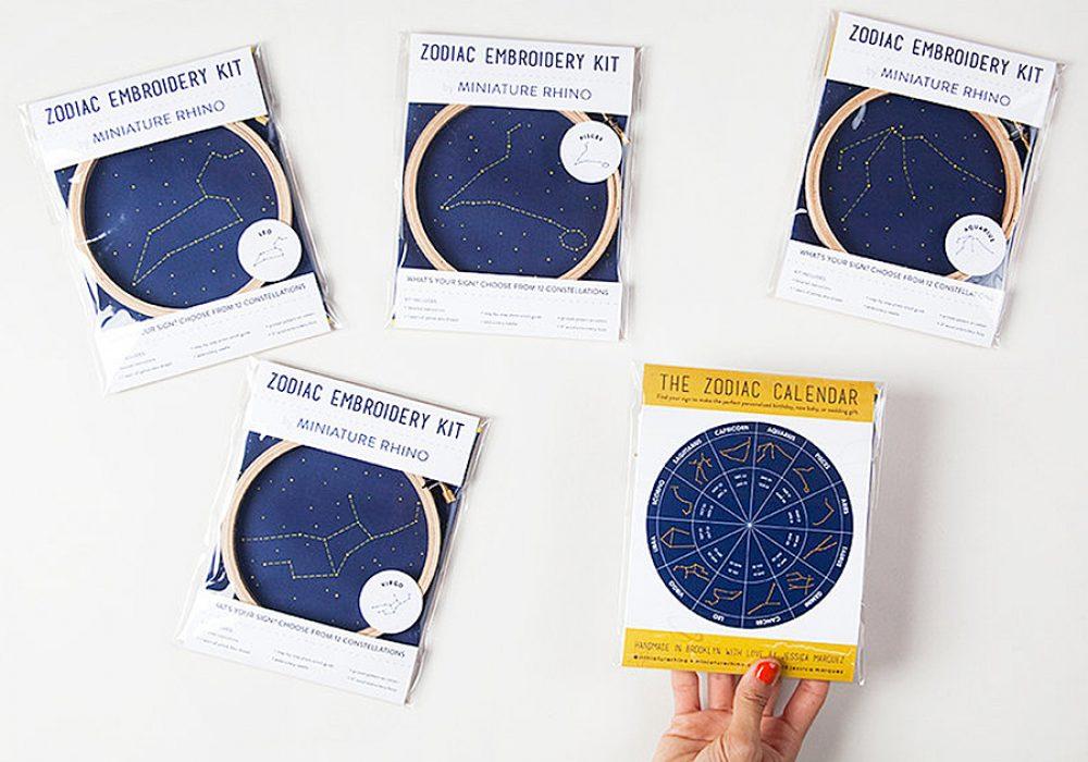 Miniature Rhino Zodiac Embroidery Kit Hobby