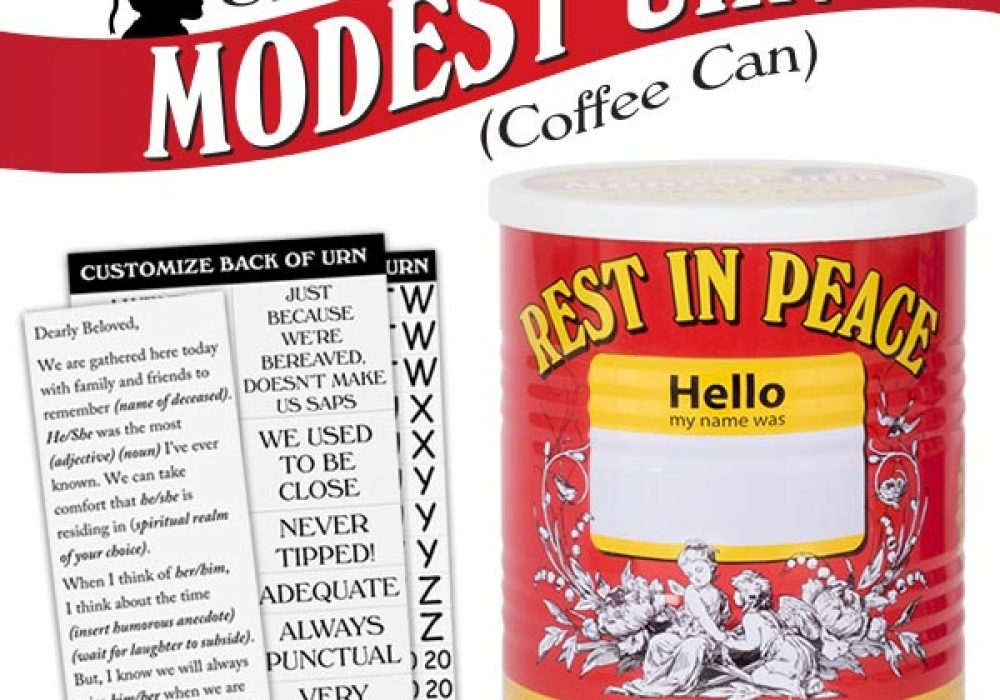 Modest Urn Cheap Dead Loved Ones Red Coffee Can