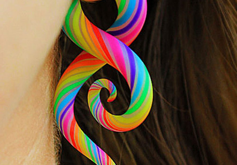 Modified-Lobes-Technicolor-FAKERS-Polýpous-Plugs-Cool-Rainbow-Faux-Earrings