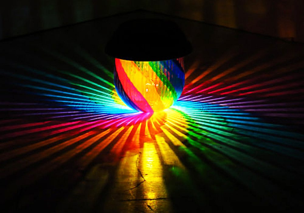 Mood Lights Rainbow Painted Solar Table Lamp Party Accessory