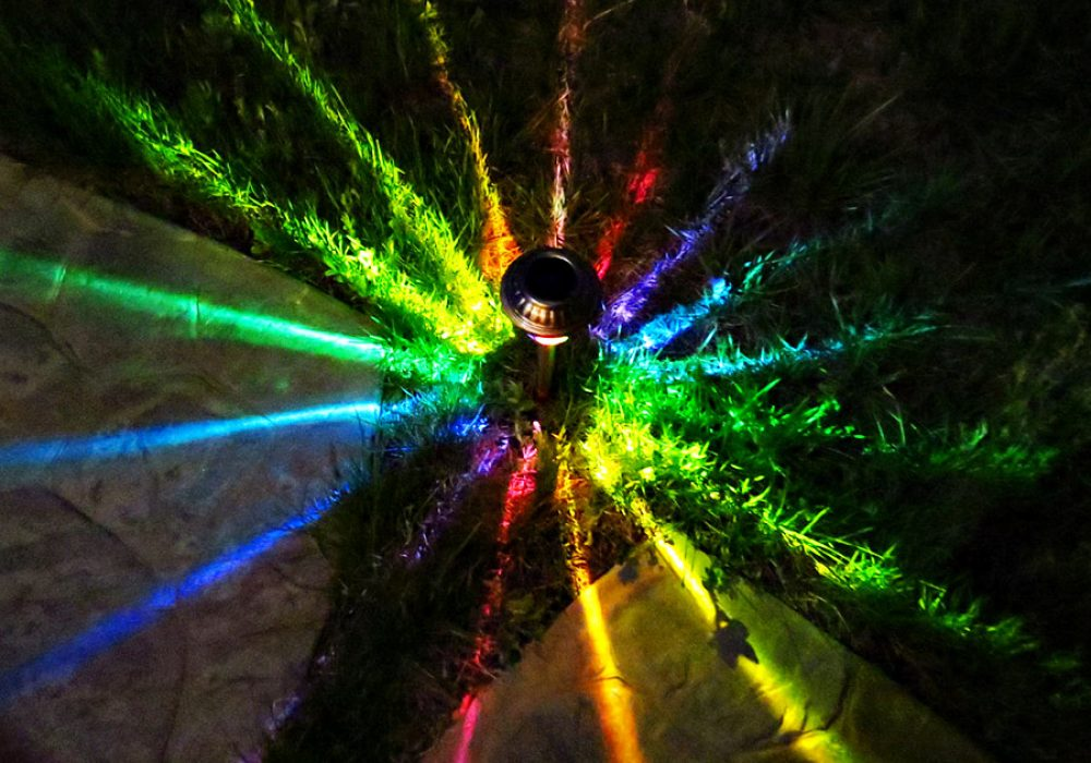 MoodLights Rainbow Painted Solar LED Path Light Garden Art