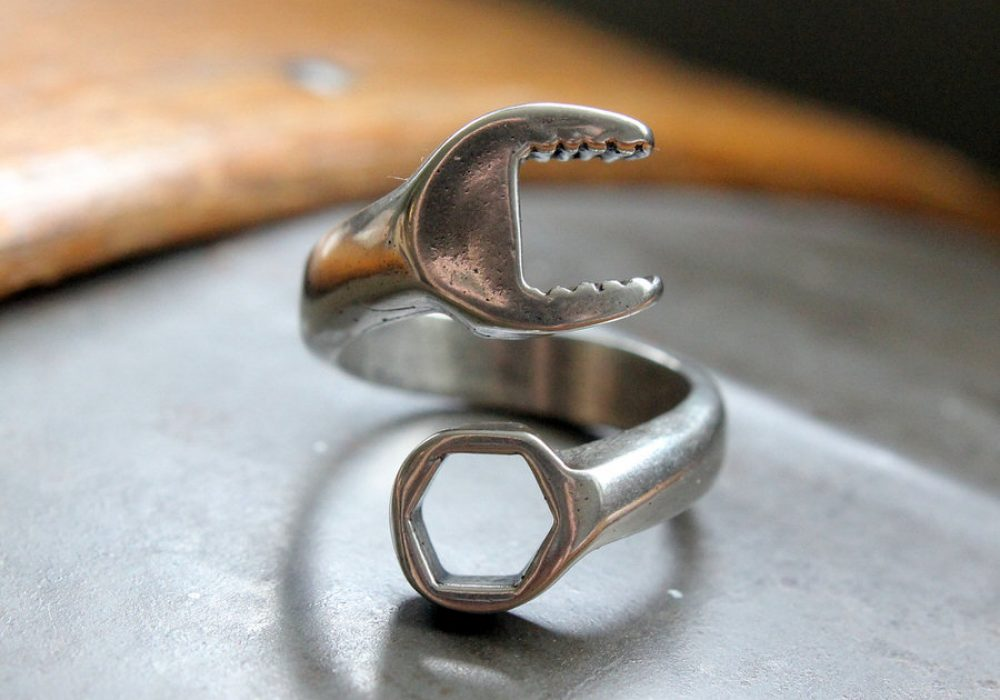 Moon Raven Designs Silver Spanner Wrench Ring One of a Kind Gift for Him