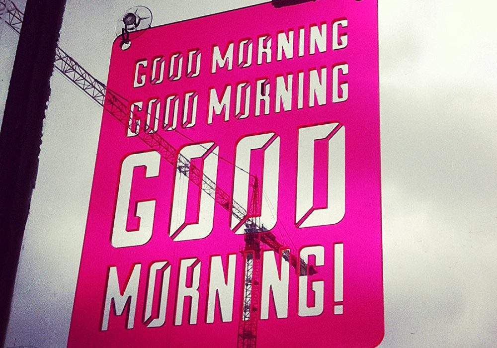 Moonish Goods Good Morning Typographic Sun Catcher Made to Order