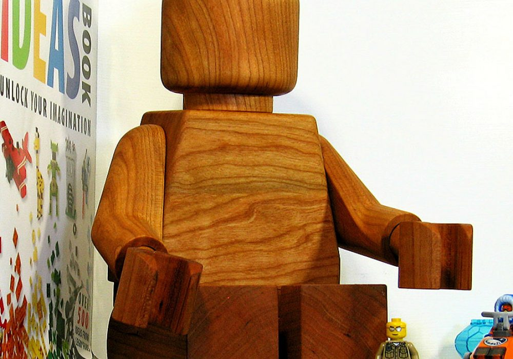 More Cows Than People Large Wooden Lego Man Sculpture Handcrafted Item
