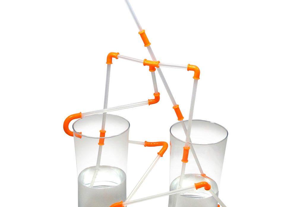 NUOP Connectable Drinking Straws Orange Connectors