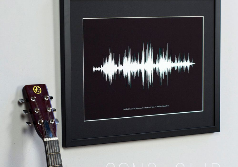 Newton and the Apple Your Voice Sound Wave Print Frame for Recording Studio