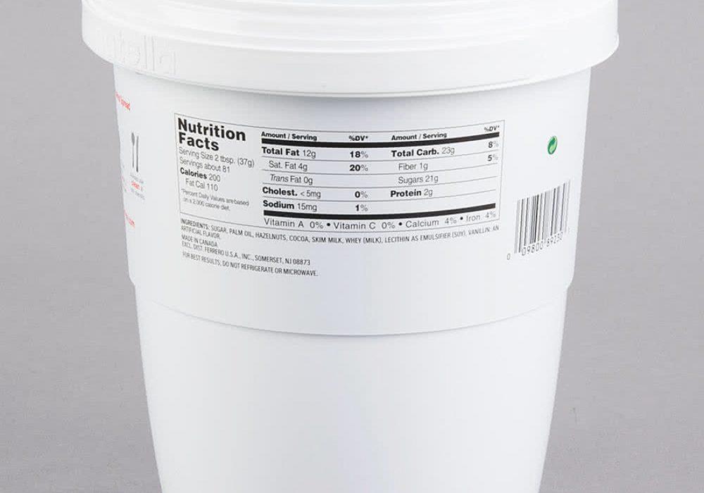 Nutella Hazelnut Spread 6.6 lb. Tub Nutritional Facts