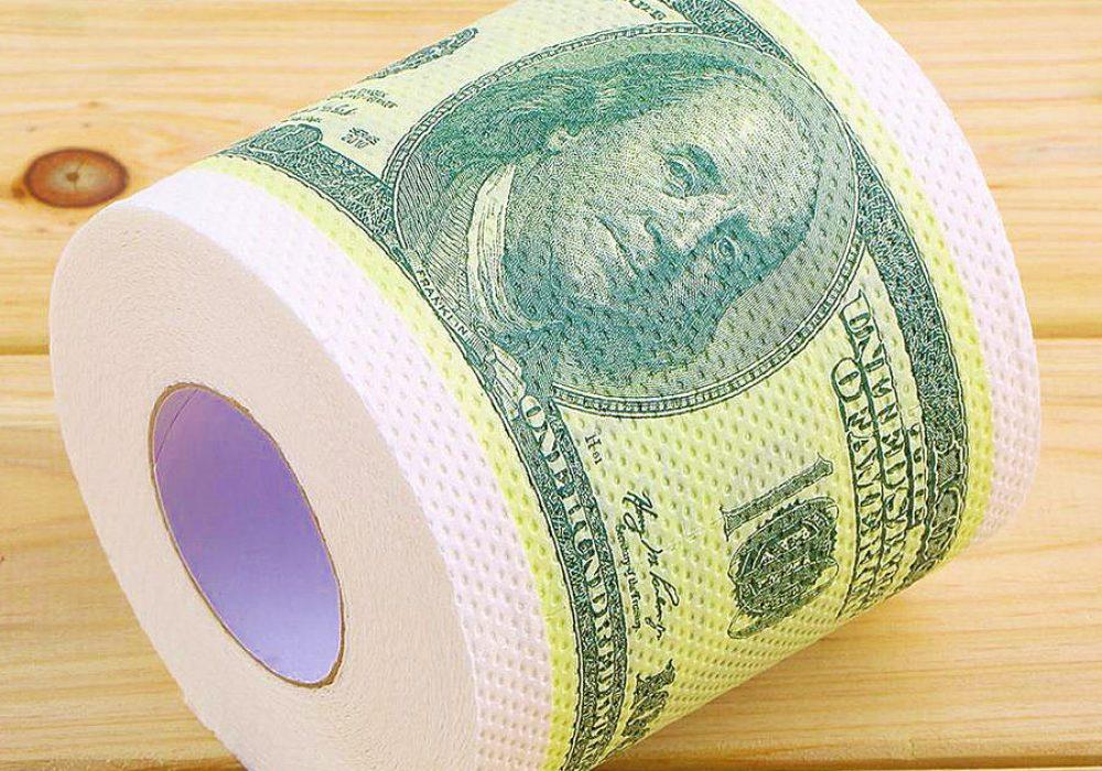 One Hundred Dollar Bill Toilet Paper Roll of 100 Dollar Bill