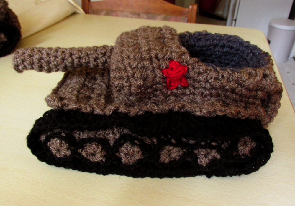 Panzer Tank Crochet Slippers Gray Unique Footware