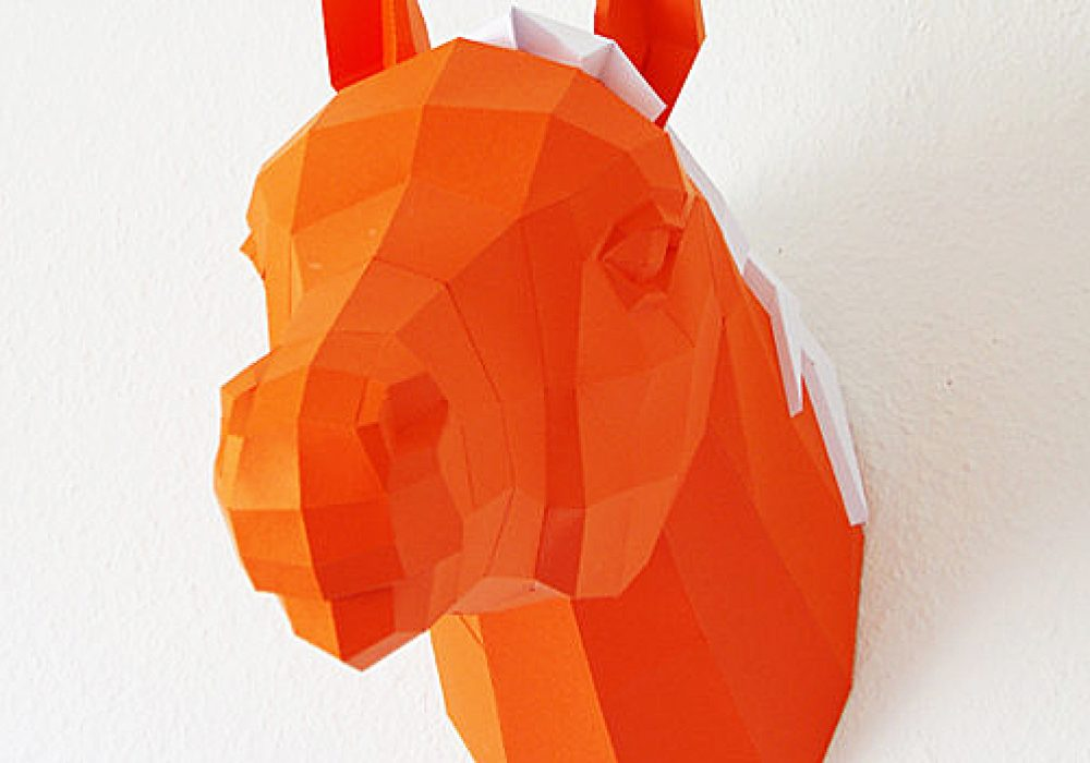 Paperwolf's Shop Paper Horse Trophy Creative Home Decorations