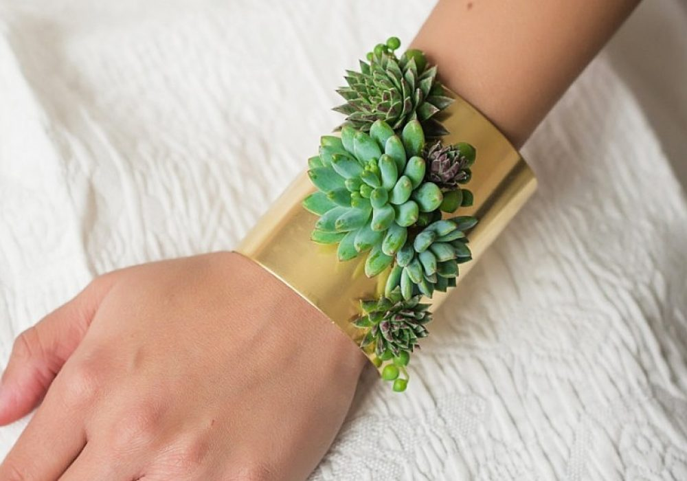 Passionflower Succulent Cuff Bracelet Gift Idea For Her