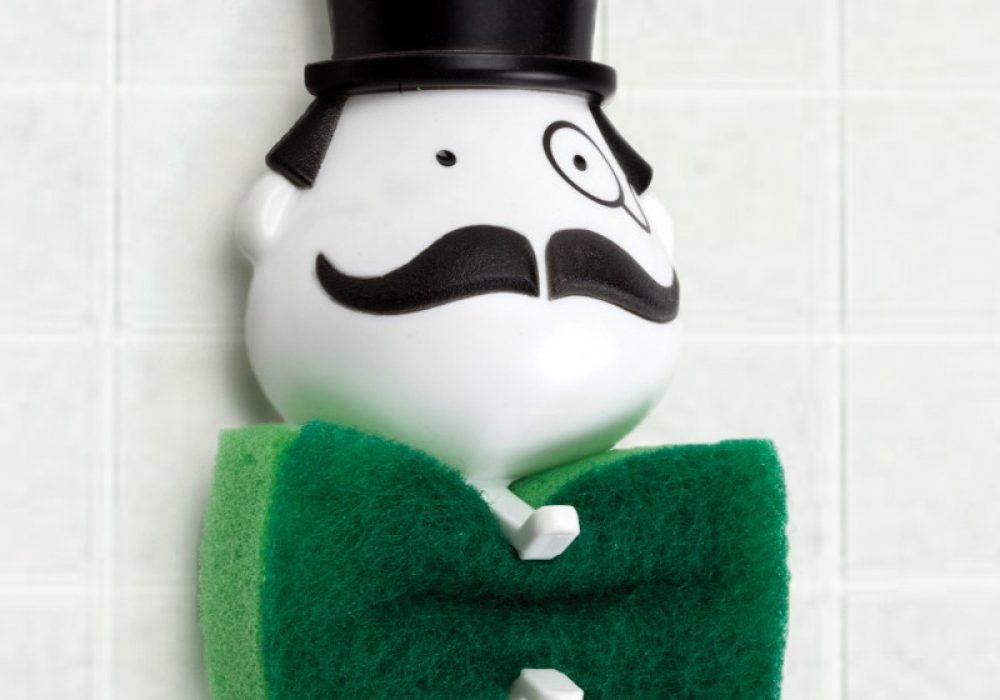 Peleg Design Mr Sponge Sponge Holder Monopoly Guy Green Tie