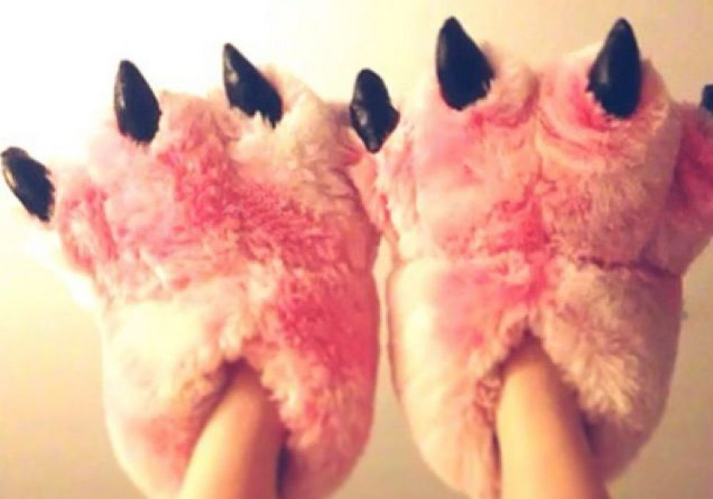 Pink Fuzzy Bear Paw Animal Slippers Cool Gift Idea for Sister