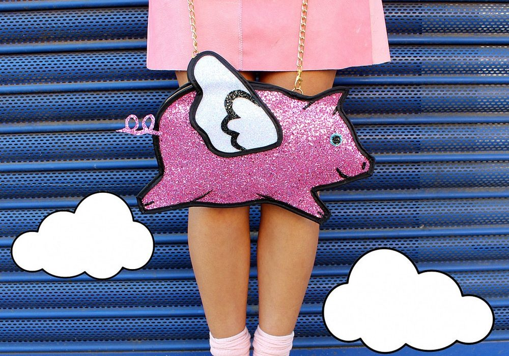 Pink Glitter Flying Pig Clutch Handbag Cute Funny Things to Buy Her
