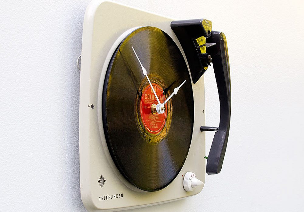 Pixel This Recycled Telefunken Record Player Clock Cool Gift to Buy for Him