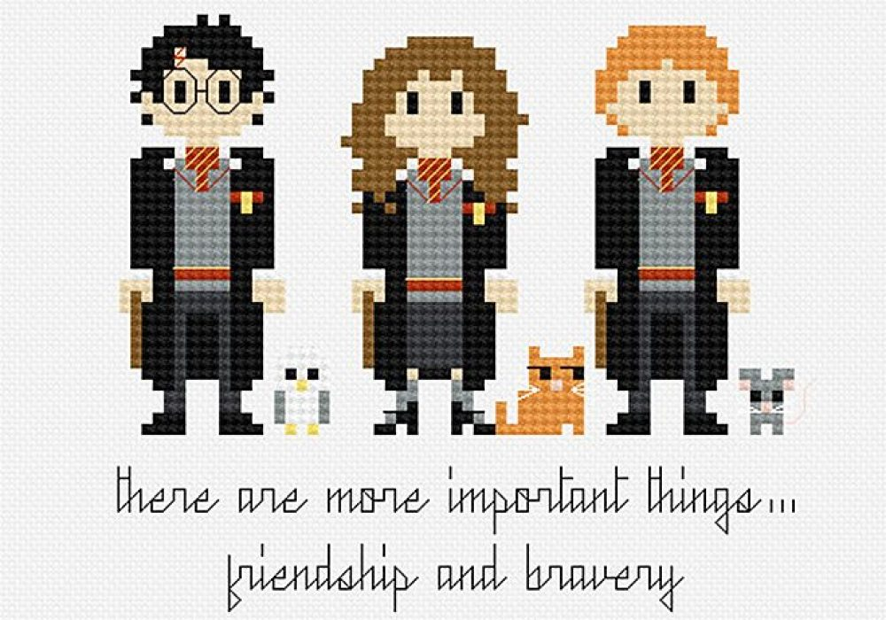 Pixels in Stitches Harry Potter Trio Cross Stitch Pattern Great Gift Idea for Hobbyist