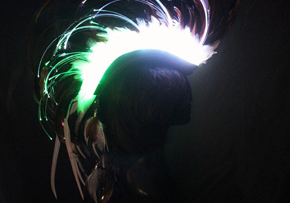 Playaborn Warrior Feather Mohawk Illuminating Headpiece