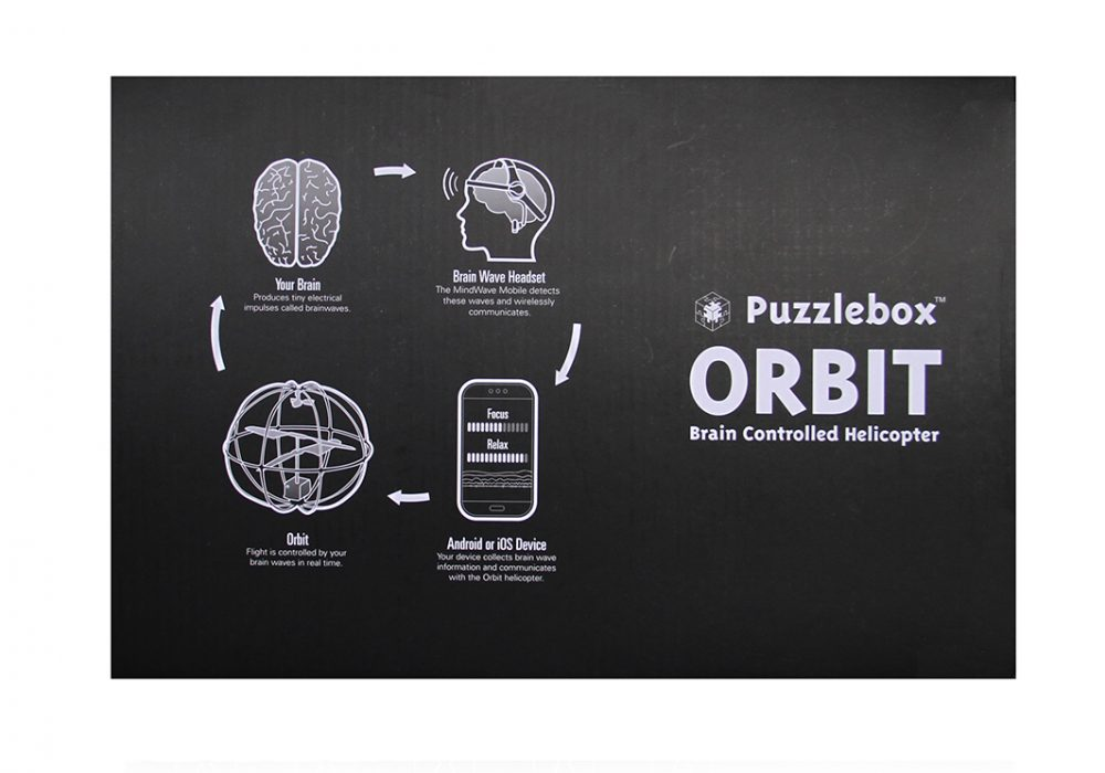 Puzlebox Orbit Mobile Edition Black Box Top Side Simple Diagram to Control Orbit