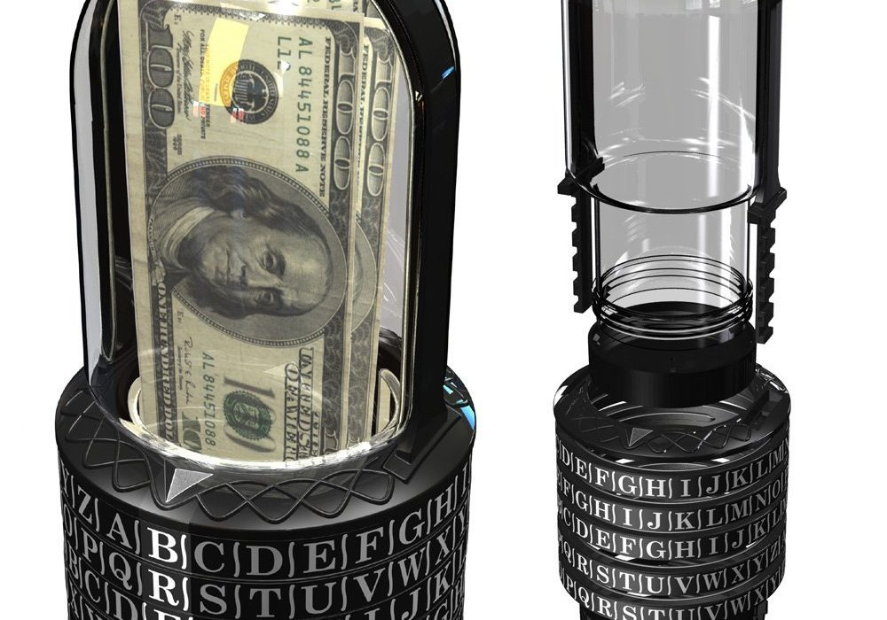 Puzzle Pod Cryptex Novelty Item Coin Bank Mystery Gift 100 Dollar Bill