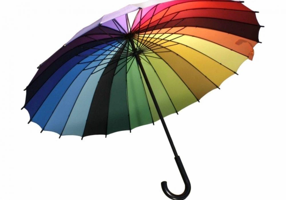 Rainbow Color Wheel Umbrella Underneath