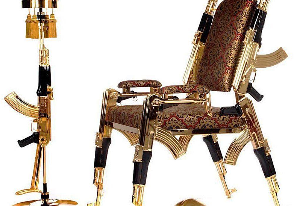 Rainier Weber Designs Gold-Plated AK47 Chair Home Furniture