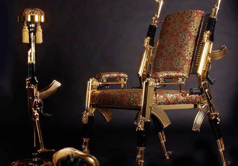 Rainier Weber Designs Gold-Plated AK47 Chair Rifles
