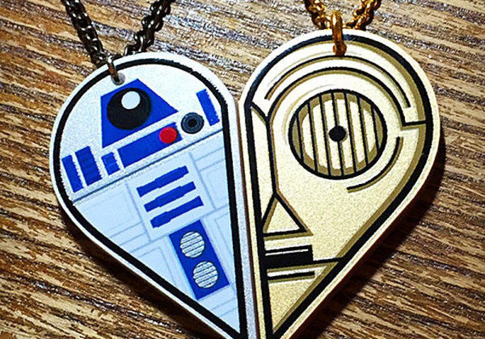 Rapscallion R2D2 and C3PO Best Friends Acrylic Necklace for Geek Girlfriend