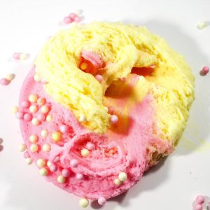 Raspberry Lemonade Scented Cloud Creme Pink Yellow Slime