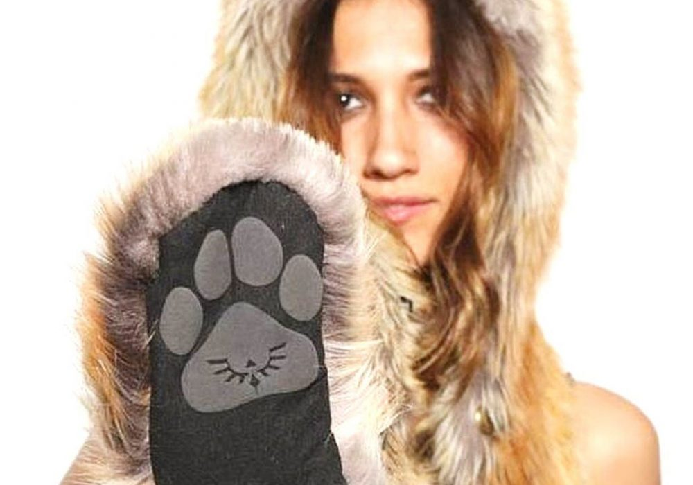 Red Fox Full Hood Animal Hat Cute Black Paw Print Plush Fur