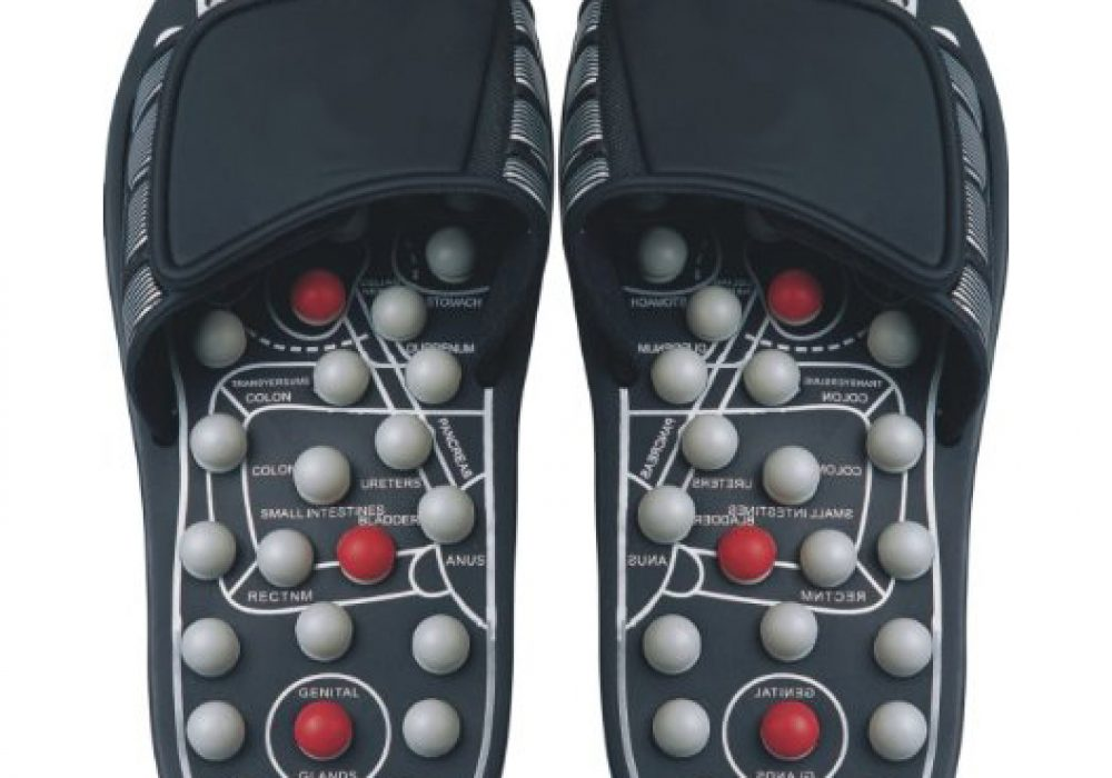 Reflexology Sandals Black & Pearl Improve Your Health