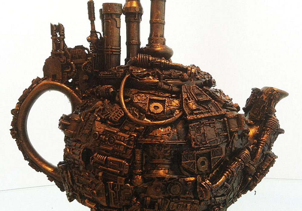 Richard Symons Techno Steampunk Teapot Sculpture Made from Wires