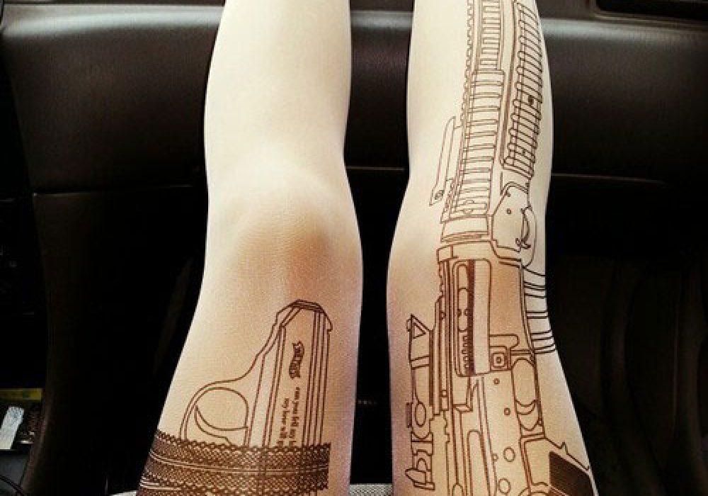 Rifle Tattoo Tights Cool Women Fashion to Buy