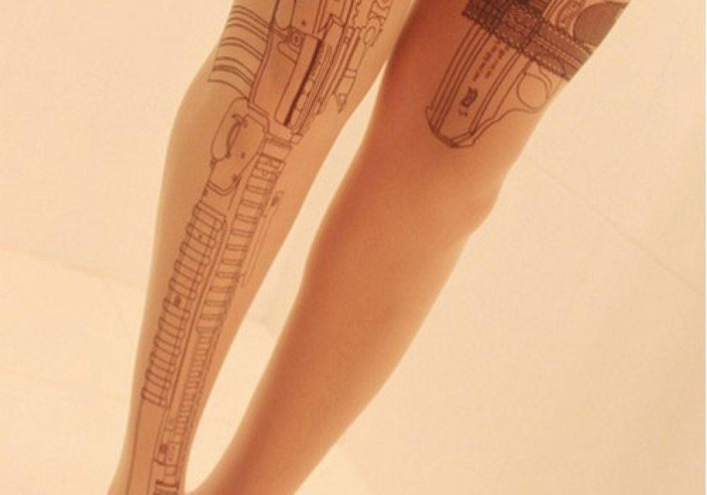 Rifle Tattoo Tights Gun Fashion Unique Design