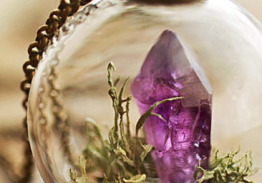Ruby Robin Boutique Amethyst Crystal Terrarium Necklace Purple Artistic Pendant